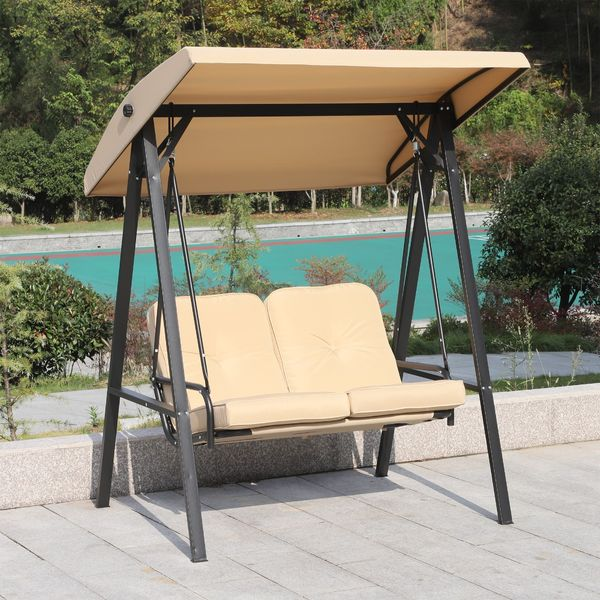 Outsunny 2 Seater Covered Outdoor Swing Chair Hammock Bench with Cushion Tilt Canopy Beige