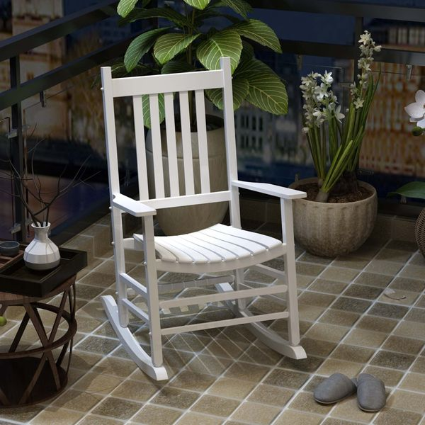 Outsunny Porch Rocking Chair Leisure Seat White|AOSOM.CA