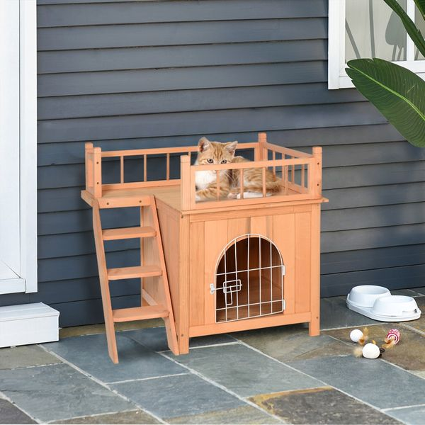 Wood Pet House Cat Tree 2-Story Small Puppy Bed Platform Outdoor Kennel w/ Stair