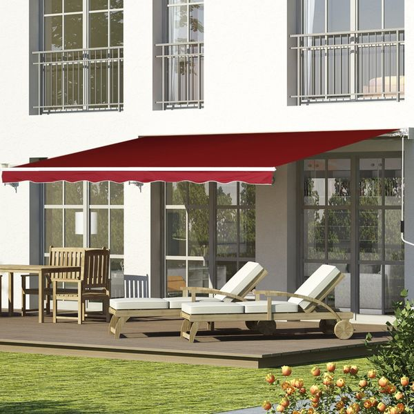 Outsunny 8' x 7' Retractable Patio Awning Sun Shade Outdoor Deck Canopy Shelter Manual Water-resistant Waterproof UV Protection Dark Red|Aosom Canada