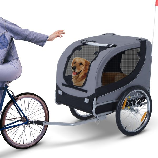 Aosom Pet Bike Bicycle Trailer Dog Cat Travel Carrier Foldable Small Animal Folding Carrier Trailer Gray|Aosom Canada