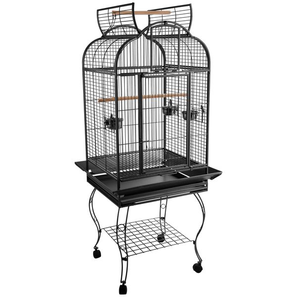 PawHut Large Bird Cage 63-inch Parrot Cage Rolling Cockatiel Finch Macaw Aviary Cage Open Play Top with 2 Perch 3 Stainless Steel Cup Pet Furniture|Aosom Canada