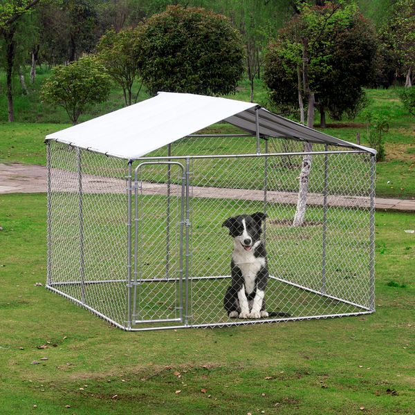 PawHut Outside Dog Kennels Pet Fence With Cover 10'Lx10'Wx6'H Large Dog Playpen Exercise House Cage W/Canopy Roof Silver |Aosom Canada