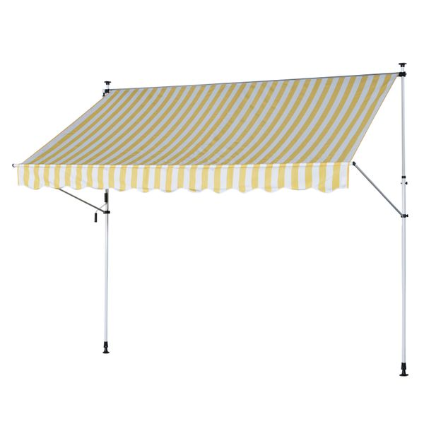 Outsunny Manual Retractable Patio Awning Window Door Sun Shade Deck Window Sun Shelter|AOSOM.CA