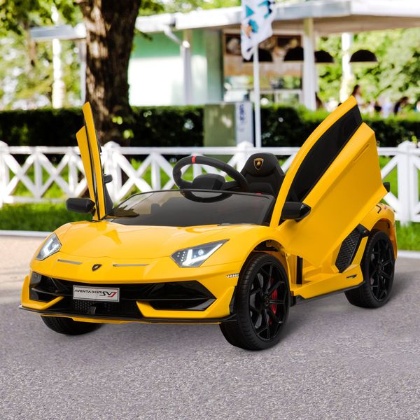 Aosom Compatible 12V Battery-powered Kids Electric Ride On Car Lamborghini Aventador Toy with Parental Remote Control Music Lights Bluetooth Suspension Wheels for 3-8 Years Old Yellow SVJ Sport Racing RC Yrs | Aosom Canada