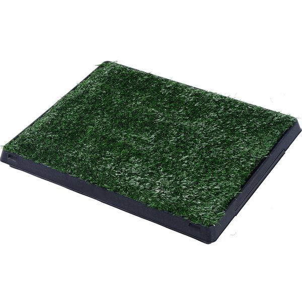 "Pawhut 24"" x 20"" Grass Pad Dog Potty Toilet Pet Mat Tray 2 Layers Indoor Puppy Trainer Artificial Toile Park Patch w/ Drawer 