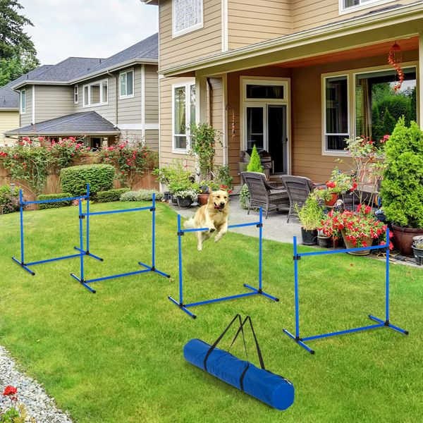 PawHut Adjustable Dog Training Agility Jump Bar w/ Carrying Bag - Set of 4 Jumps|Aosom Canada