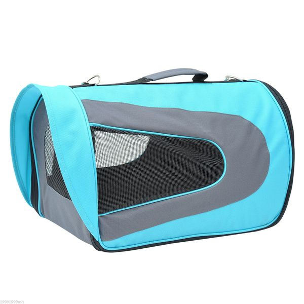 PawHut Mesh front and sides for great ventilation Foldable Soft Sided Pet Carrier Dog Cat Airline Bag Crate Mesh Tote Transport Comfort Approved Crates Travel Sofa Sky Blue and Grey|Aosom Canada