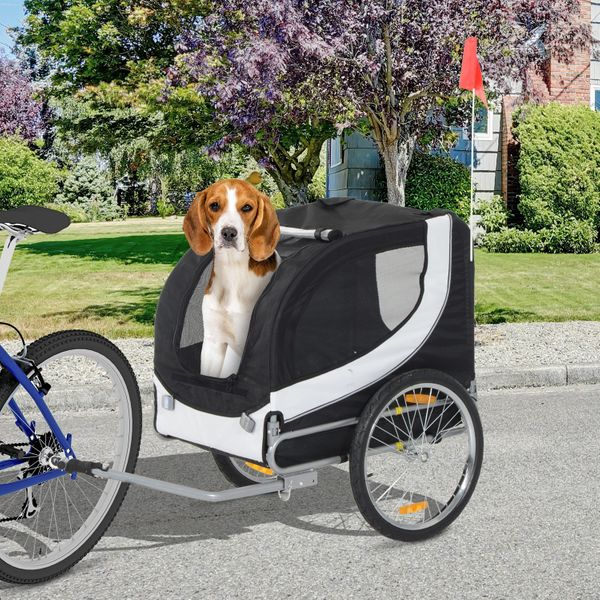 PawHut Pet Bike Bicycle Trailer Stroller High Quality Easy Walk Folding Jogging Travelling Carrier for Dog Cat Black|Aosom Canada