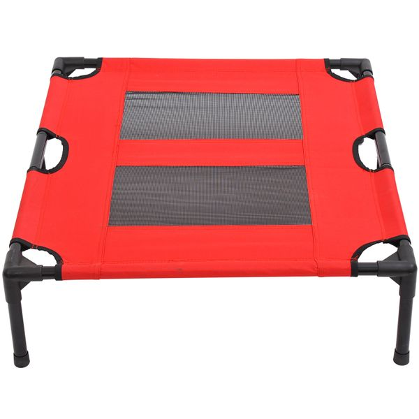 Pawhut Elevated Folding Dog Bed Metal Frame Pet Cot Portable Cooling Cat Camping Sleeper Large Indoor/Outdoor Red/Black | Aosom Canada