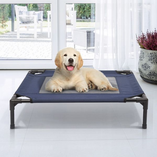 "PawHut 30"" Elevated Mesh Pet Bed Dog Cat Cot Cozy Camping Beds Comfortable Cooling Camp Lounger Sleeper Blue / Black 
