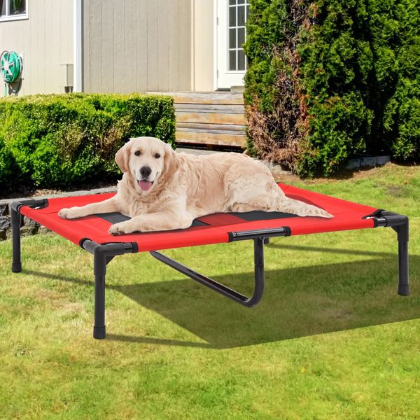 """PawHut 36"""" x 30"""" Elevated Dog Cat Bed Pet Cot Cooling Cozy Camping Sleeper, Red"""