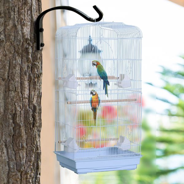 """PawHut Vision Bird Cage 36"""" Macaw Cage Play House Cockatoo Parrot Finch Flight Cage 2 Doors Perch 4 Feeder Pet Supplies White