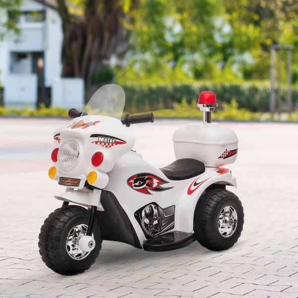 Aosom 6V Kid Electric Motorcycle Police Car Battery Powered Electric Trike Toys For 18-36 Months With Mp3 White