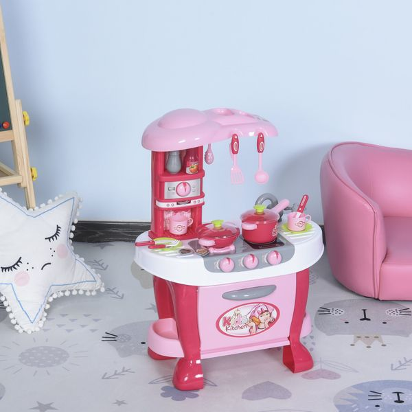 Qaba Kids Kitchen Play Set Pretend Toy Children Role Play Game Toy with Light & Sound Function 38Pcs Toy Accessories - Pink   Aosom Canada