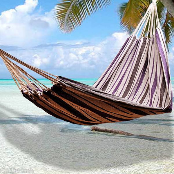 "Outsunny 83"" Fabric Hammock –Purple/Brown/Tan 