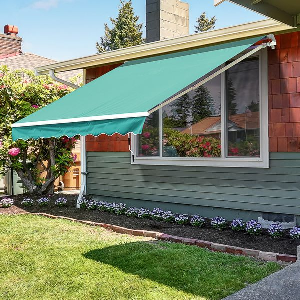 Outsunny Front Door Awning 10'x 8' Manual Retractable Waterproof Sun Shade Patio Awning Outdoor Deck Canopy Shelter Water-resistant Shelter Aluminum Frame Dark Green   Aosom Canada