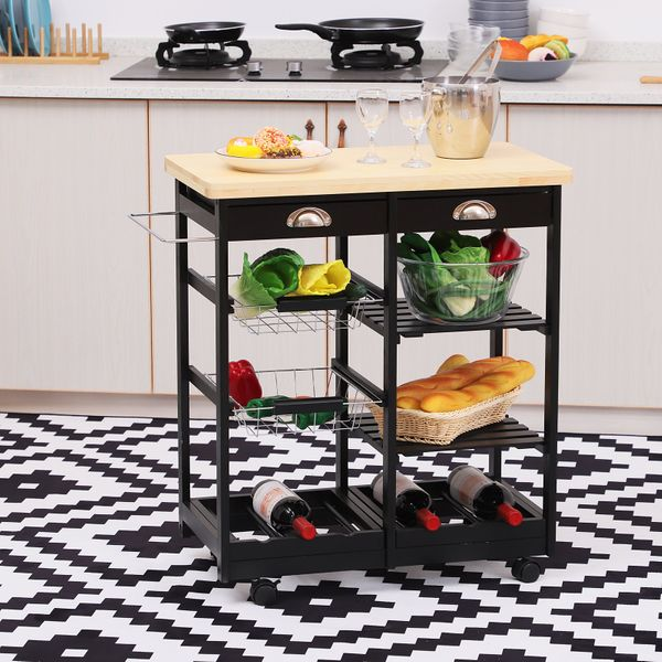 Rolling Kitchen Island Trolley Serving Cart Wheeled Storage Cabinet w/ Basket Shelves and Drawers Black|Aosom Canada