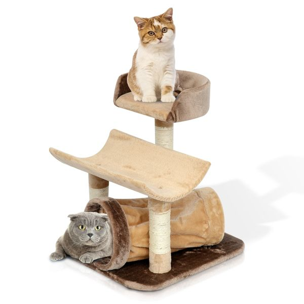 "PawHut 29"" Cat Tree Condo Tower Scratcher Post Pet Furniture with Tunnel Kitten Scratching Sisal Rope Bed Tower Brown / Golden