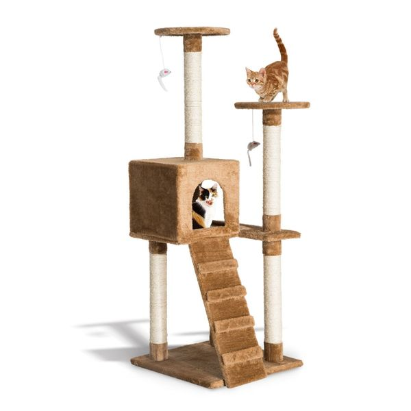 """PawHut D30-044 52"""" Multi-Level Tower Cat Tree Condo Activity Furniture Kitty Scratching with Toy Dark Beige 