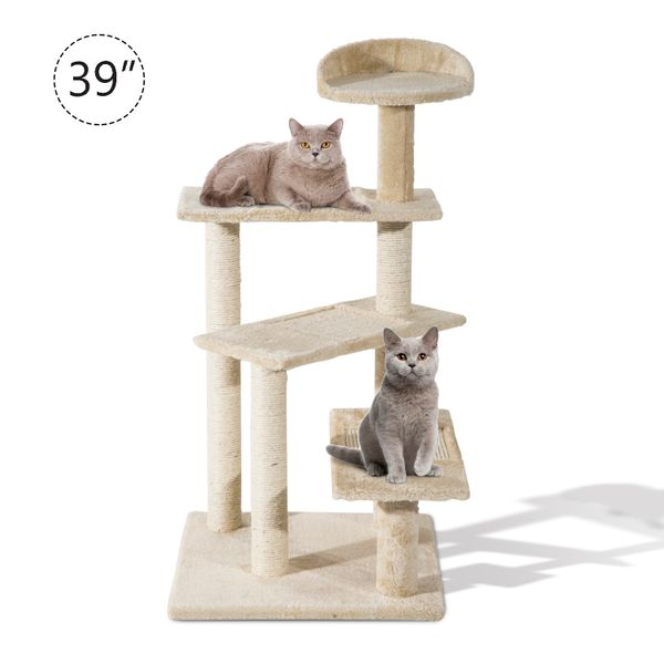 "PawHut 39"" Scratching Cat Tree Scratcher Revolving Steps Climbing Tower Condo Post Pets Furniture 5-Level Kitten Activity Center Kitty Scratcher Bed Beige 