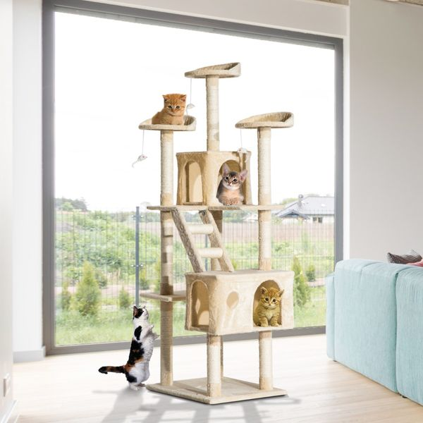 PawHut 71-Inch Multi Level Scratching Cat Tree Kitty Condo  Activity Center with Toys, Beige
