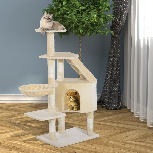"PawHut 49"" Deluxe Cat Tree Furniture Scratching Pet Tower Kitten Play Post House Condo Activities Center Creamy White 