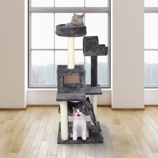 """Pawhut Classic Cat Tree Cond Climber Furniture Kitty Scratching Toys House 51"""" Deluxe Kitten Condo Play Pet Scratcher Tower with Hammock Grey