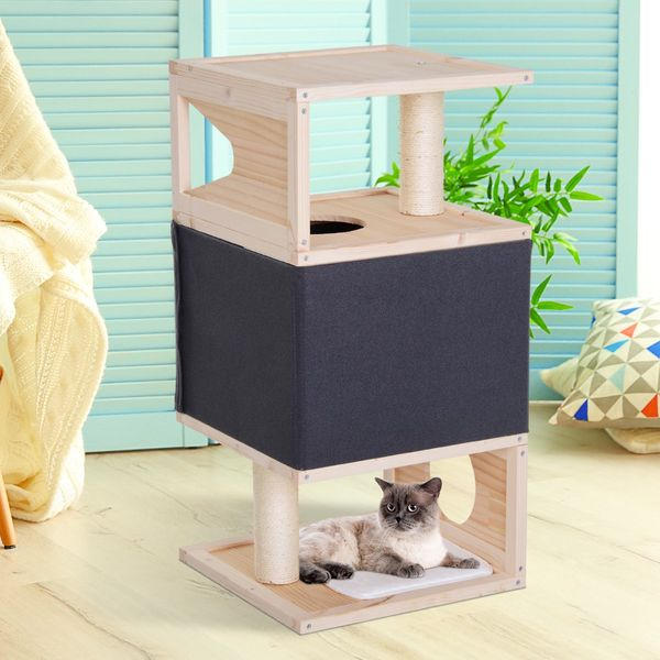 PawHut Multi-Level Cat Tree w/ Sisal-Covered Scratching Post Large Perch|AOSOM.CA