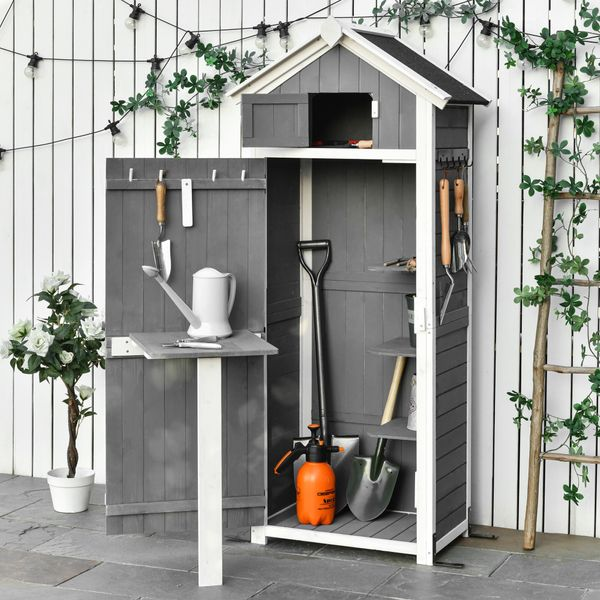 Outsunny 30.75''x 20.75''x71.75'' Garden Wood Storage Shed with Workstation, Hooks and Ground Nails Multifunction  Lockable Sheds & Outdoor Storage Asphalt Roof Tool Organizer, Grey w/ | Aosom Canada