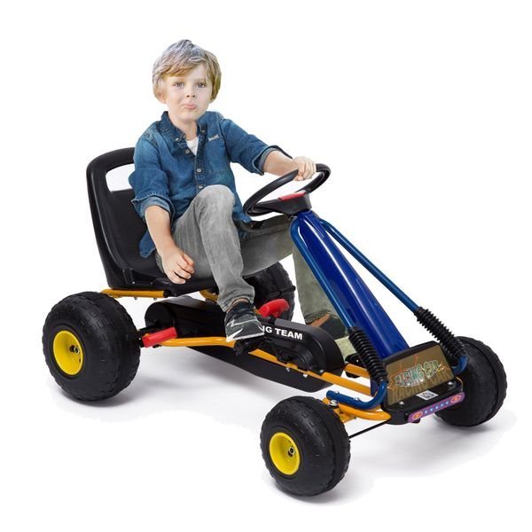 Soozier Pedal Go Kart Racing Style Children Ride On Car Outdoor Racer Adjustable Seat|Aosom Canada