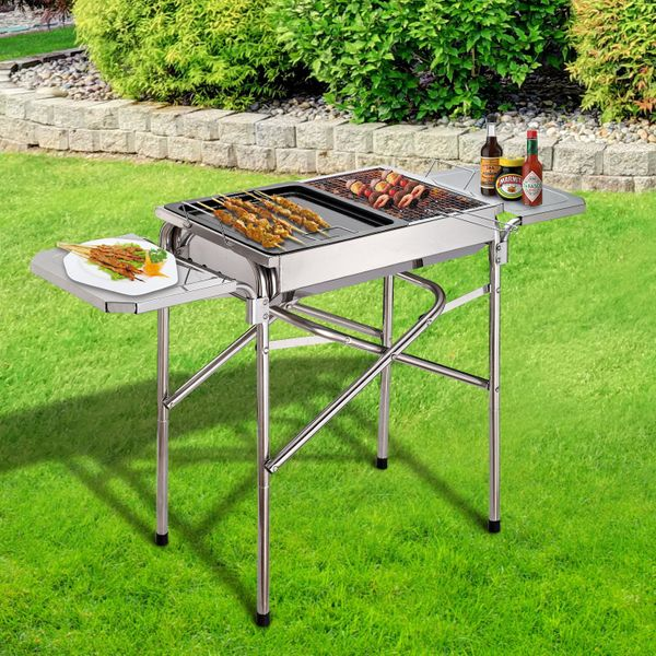Outsunny Portable Barbecue Grill Outdoor BBQ Kebab Charcoal Stainless Steel Smoker Camping Cooking | Aosom Canada