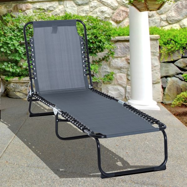 Outsunny Beach Cot Adjustable Folding Reclining Lounger Lightweight Camping Hiking Portable Outdoor Grey