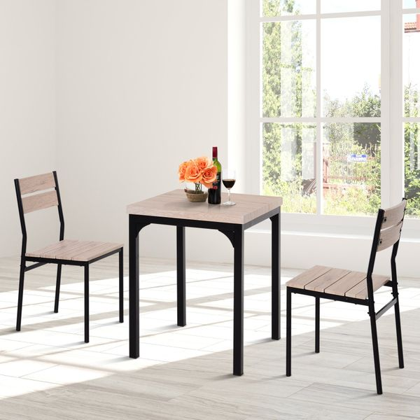 HOMCOM 3pcs Wooden Dining Set Industrial Style Wood and Metal Kitchen Table Set for 2 Chairs Modern and Sleek Dinette Home Furniture