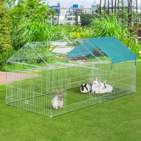 """PawHut Large Rabbit Playpen 86.5"""" x 40.5"""" Small Animal Enclosure Rabbit Dog Pet Bunny Metal Cage Outdoor Play Run with Cover Green   Aosom Canada"""