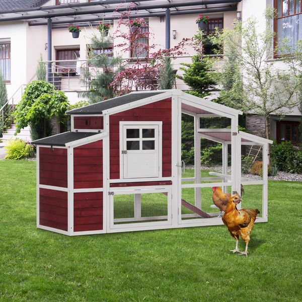 """PawHut 79"""" Wooden Outdoor Hen House Small Animal Livestock Cage Enclosure with Running Box"""