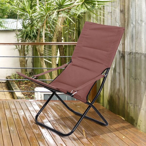 Outsunny Folding Beach Chair Outdoor Garden Lounge Seat Portable Ergonomic Padded Camping Fishing Hiking Chair w/ Armrest Brown|Aosom Canada
