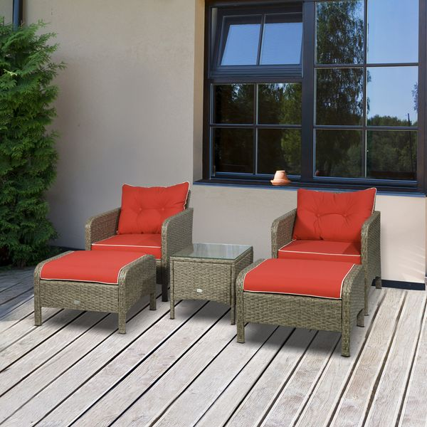 Outsunny 5 Piece Rattan Wicker Outdoor Patio Conversation Set with 2 Cushioned Chairs 2 Cushioned Ottomans and Glass End Desk 5pcs All Weather | Aosom Canada