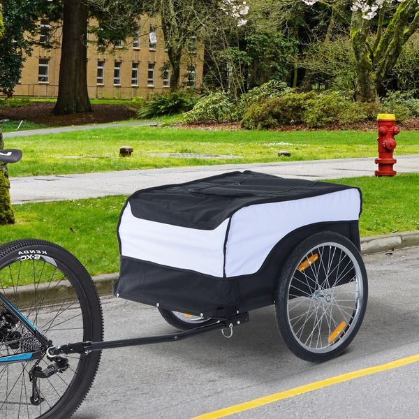 HOMCOM Bike CargoTrailer Bicycle Luggage Carrier Cart Foldable with Cover White Black | Aosom Canada