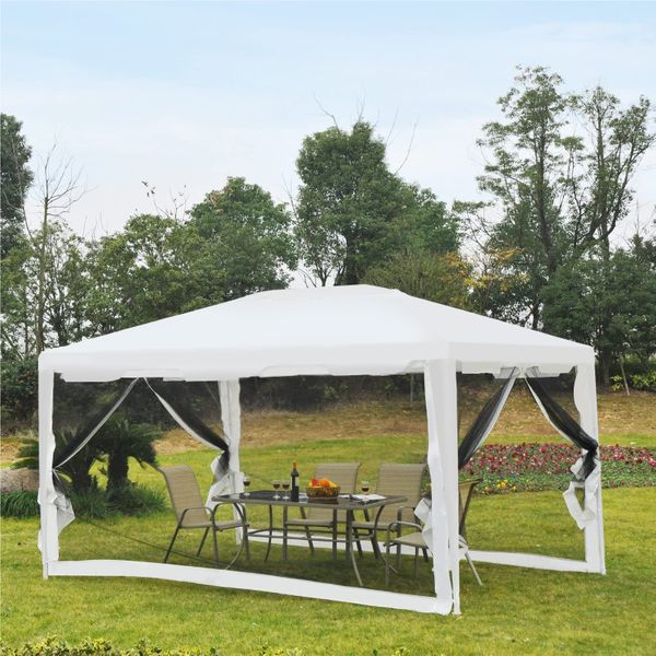 Outsunny 10'x13' Gazebo Party Tent with Mesh Sidewalls Outdoor Garden | Aosom Canada