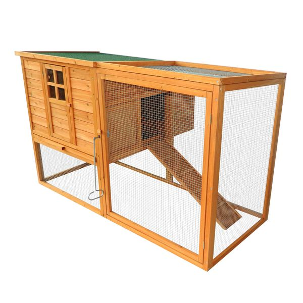 "PawHut Chicken Cage 66""x44""x40"" Wooden Chicken Coop Rabbit Hutch Backyard Garden Poultry Wood Hen House with Nesting Box and Outdoor Run 