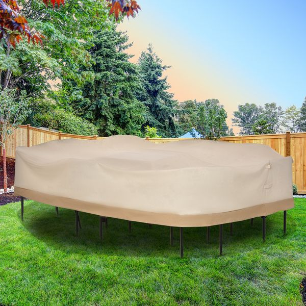 Outsunny 129.9-Inch Oval Patio Table and Chair Set Cover, Beige/Coffee Sofa Set