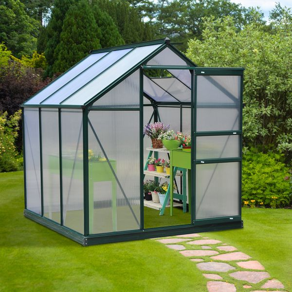 Outsunny 6'x6'x7' Walk-in Greenhouse Polycarbonate Panels for Plants Flower Growth Portable Aluminum   Aosom Canada
