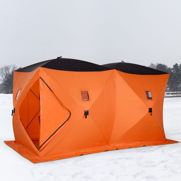 Outsunny Portable 8-Person Ice Fishing Tent Shelter with Ventilation Windows and Carry Bag Orange|Aosom Canada