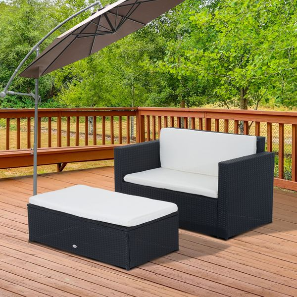 Outsunny Rattan Outdoor Furniture Deluxe Set 2pc Wicker Sofa Ottoman w/Cushion Patio Loveseat Table Black | Aosom Canada