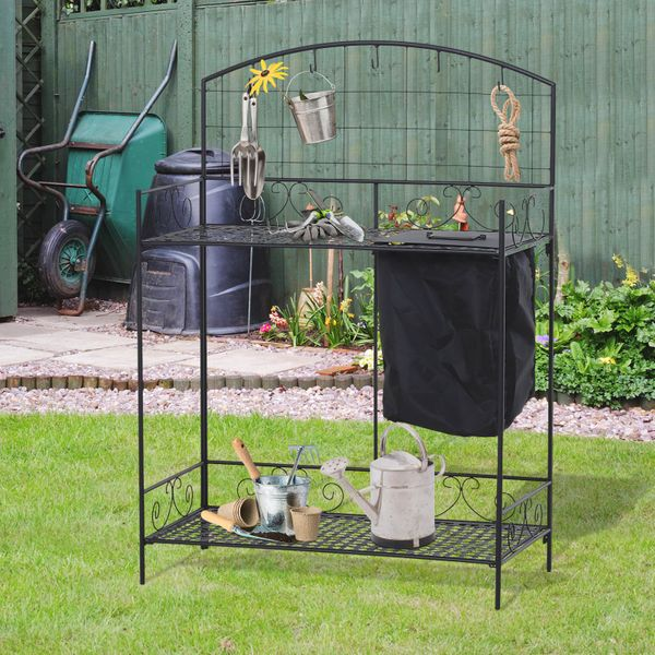 Outsunny Outdoor Metal Potting Bench Foldable Garden Planting Table w/ Build-in Bag Hook | Aosom Canada