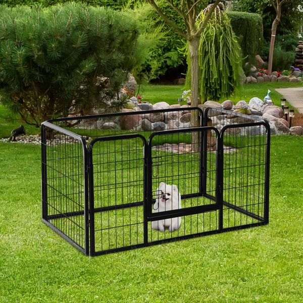 "PawHut 49"" x 32"" 4-Panel Metal Pet Playpen Indoor Outdoor Metal Dog Cat Exercise Playpen Puppy Pen Fence Black 