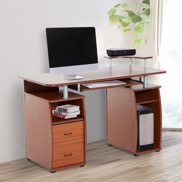 HOMCOM Wooden Computer Desk Study Table PC Desktop with Print Shelf Home Office Furniture w/ Drawer Walnut Work Keyboard Tray Storage | Aosom Canada