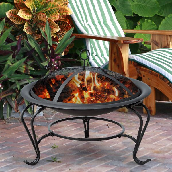 """Outsunny 22"""" Round Fire Pit with Poker and Spark Screen Wood Burning Patio Fireplace Black Aosom.ca"""