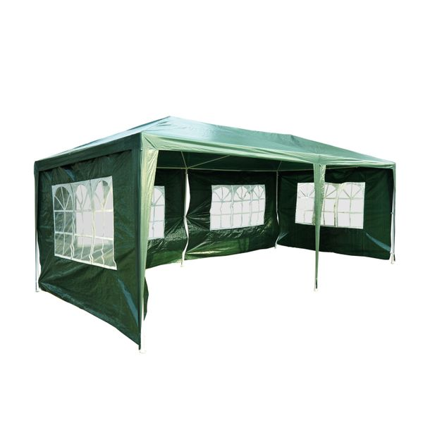 Outsunny 10' x 20' Wedding Party Tent Outdoor Event Camping Gazebo Canopy with 4 Removable Sidewalls (Green)|Aosom.ca
